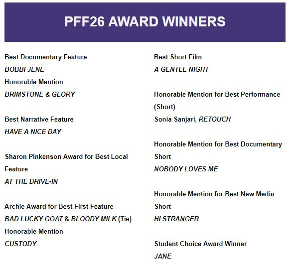 Philadelphia Film Festival Award Winning Films PFF26