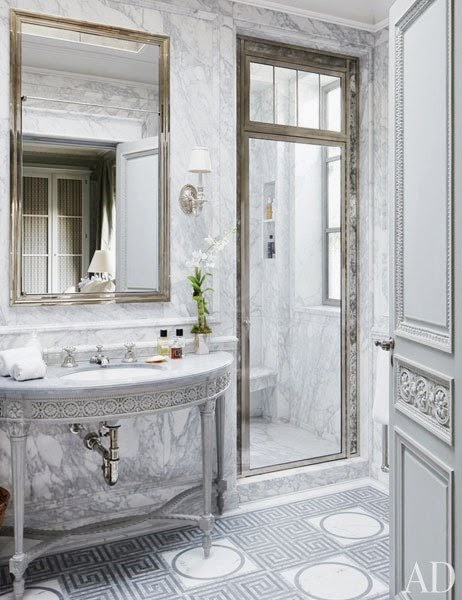 Marble and stone master bathroom in Michael Smith's NYC penthouse