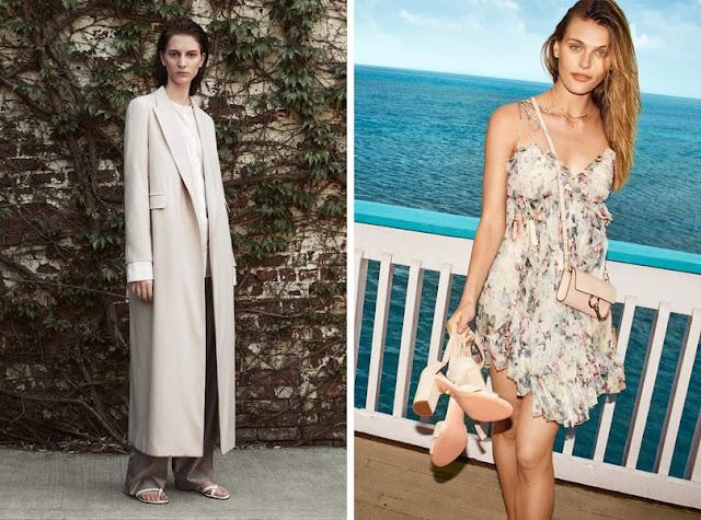 Девушка в длинном пальто и девушка в коротком платье в цветочек