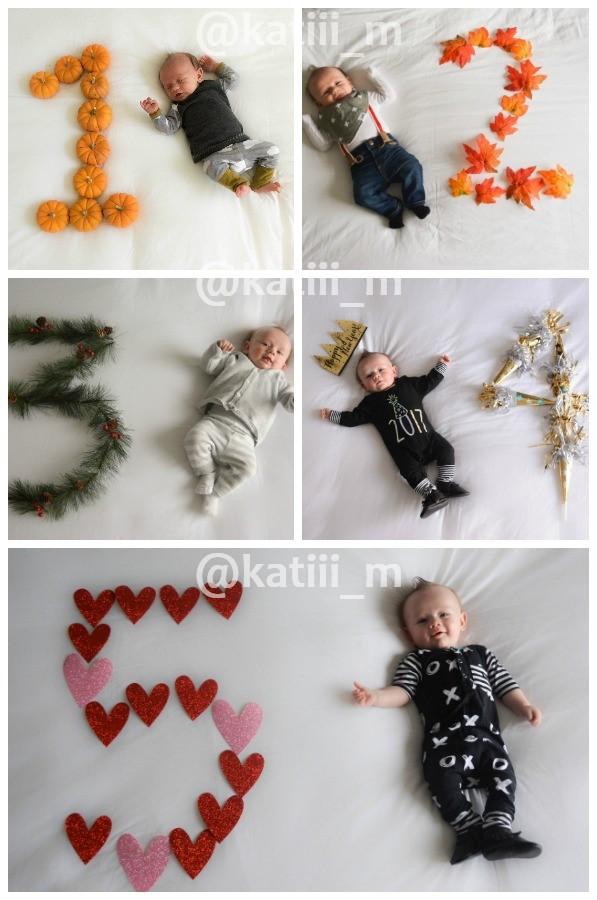 Seasonal monthly baby photos ideas.