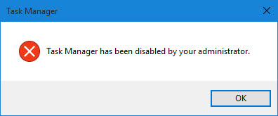 Mengatasi Task Manager has been disabled by your administrator di windows 10