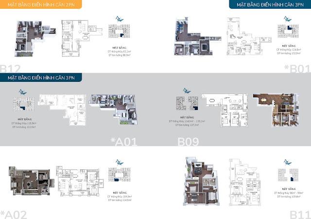 Thiết kế điển hình các căn hộ 03 phòng ngủ