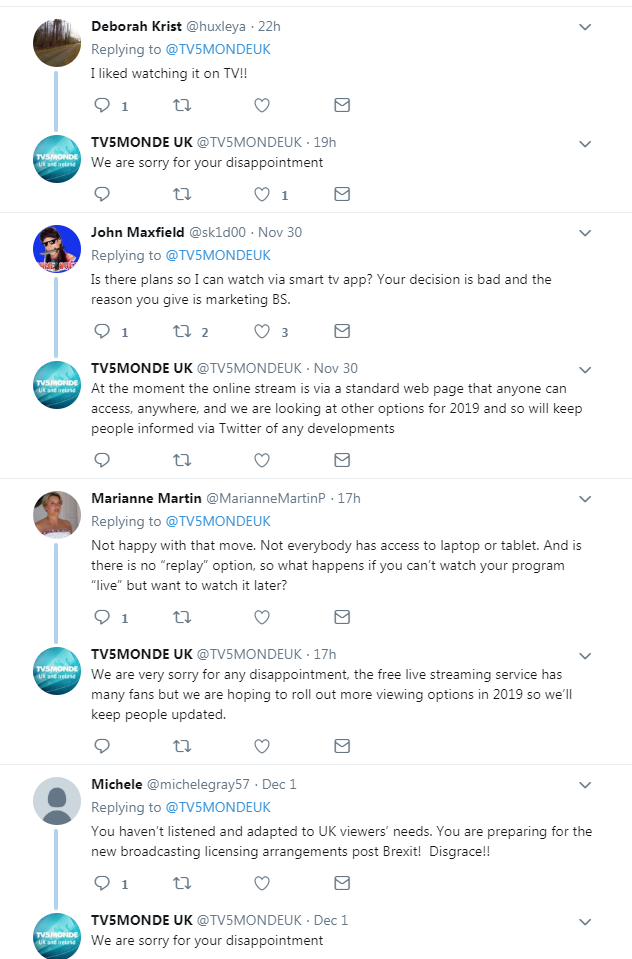 A screenshot of Twitter showing viewer's complaints about the loss of TV5 MONDE on Sky.