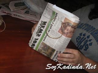 gazeteden kese kağıdı yapımı