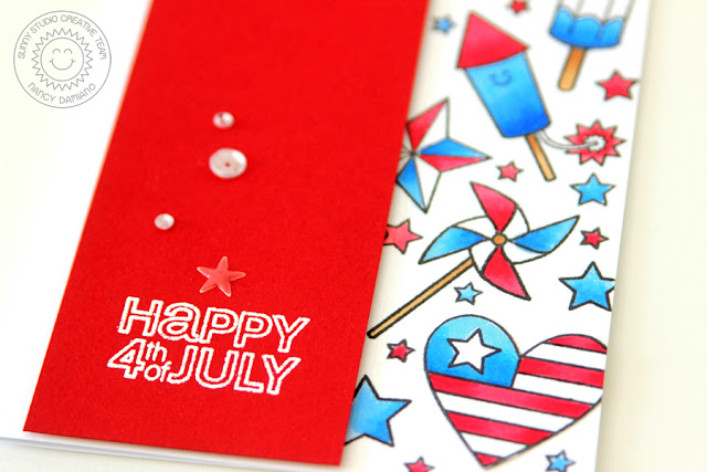 Sunny Studio Stamps: Stars & Stripes Patriotic Red, White, and Blue Card by Nancy Damiano