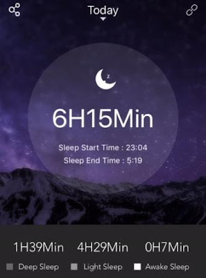 bfit Move 2 tracker - sleep screen of previous night's sleep activity