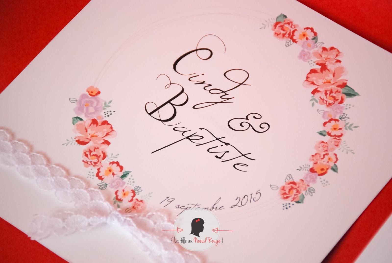 Bien connu Le faire-part de mariage romantique de C&B - La fille au Noeud  TK33