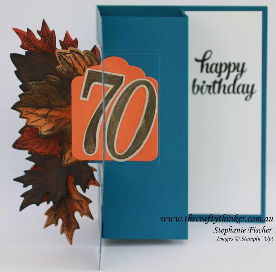 SU, Half Swing card tutorial, Vintage Leaves, Masculine card, 70th Birthday card