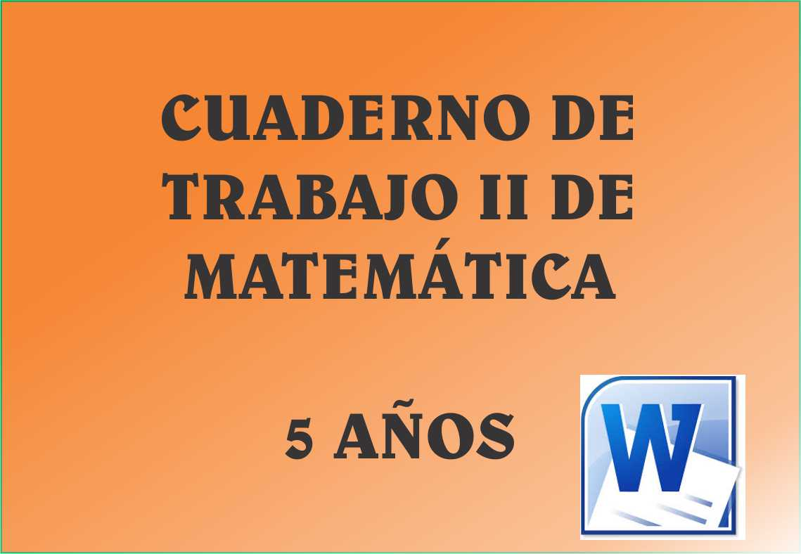 Cuaderno de Trabajo II - 5 Años Matematica ~ MATERIALES EDUCATIVOS ...
