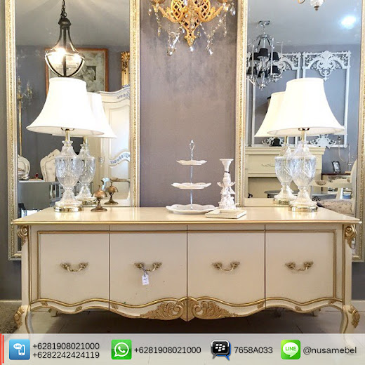 French Sideboard in White and Gold Finish Masruroh