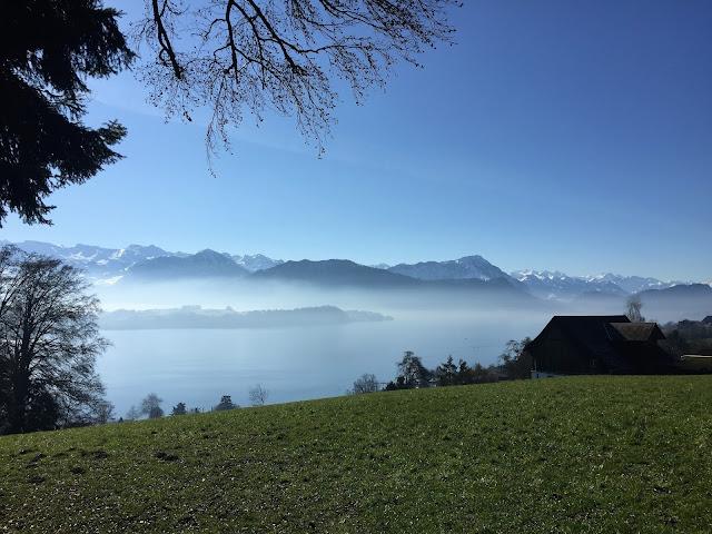 Ausblick beim Spaziergang auf See und Berge