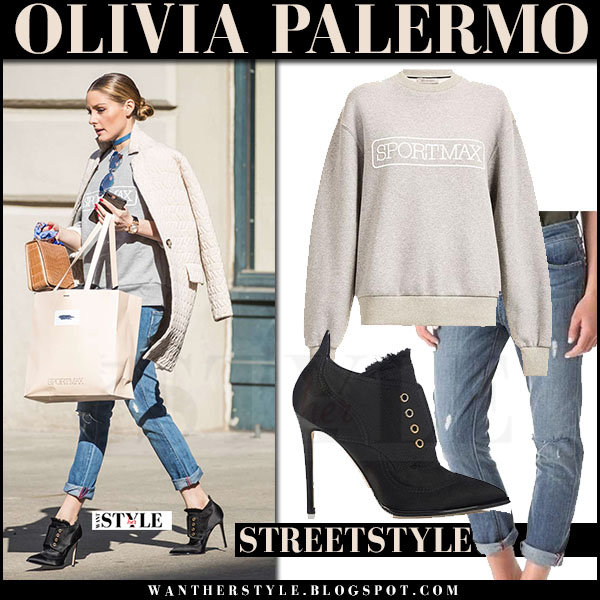 Olivia Palermo in cream coat, grey sportmax sweatshirt, jeans and black booties jimmy choo mitsu what she wore streetstyle