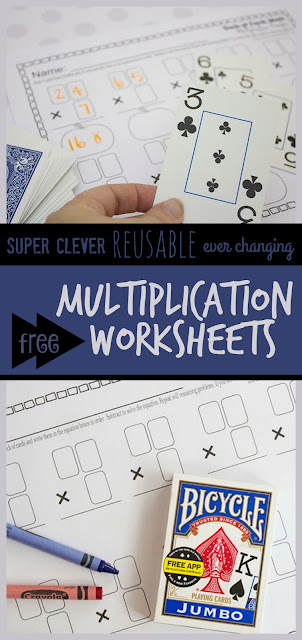 FREE Multiplication Worksheets that use a deck of cards in a super clever way to make them reusable and ever changing! These printable worksheets are quick and easy to prepare and are as much fun as a math game! Plus they provide great math practice for 3rd, 5th, and 4th grade.