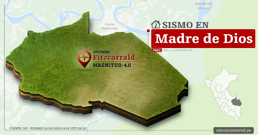 Temblor en Madre De Dios de Magnitud 4.0 (Hoy Viernes 12 Junio 2020) Sismo - Epicentro - Fitzcarrald - Manu - IGP - www.igp.gob.pe