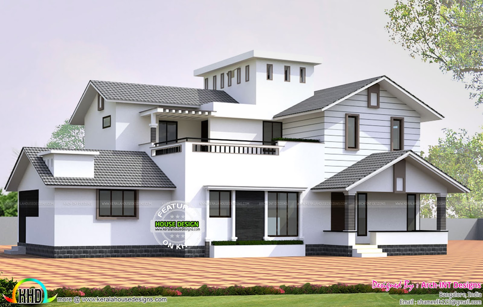 January 2016 kerala home design and floor plans for Slope home design
