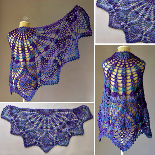 Pineapple Peacock Shawl - Free Pattern