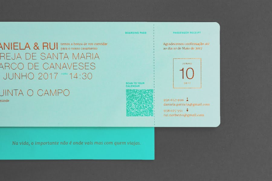 wedding-invitaiton-travel-ticket-turquoise-copper-foil-stamp-Gen-Design-Studio