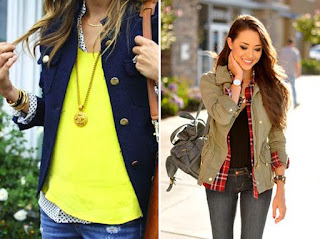 Vestir em camadas - camisa, malha e blazer; top, camisa e blusão