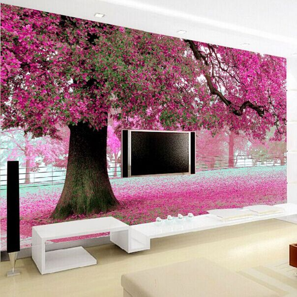 Mural wallpaper for home Purple flower pink tree 3D wall papers Cherry Blossom Wallpaper Murals for TV backdrop living Room