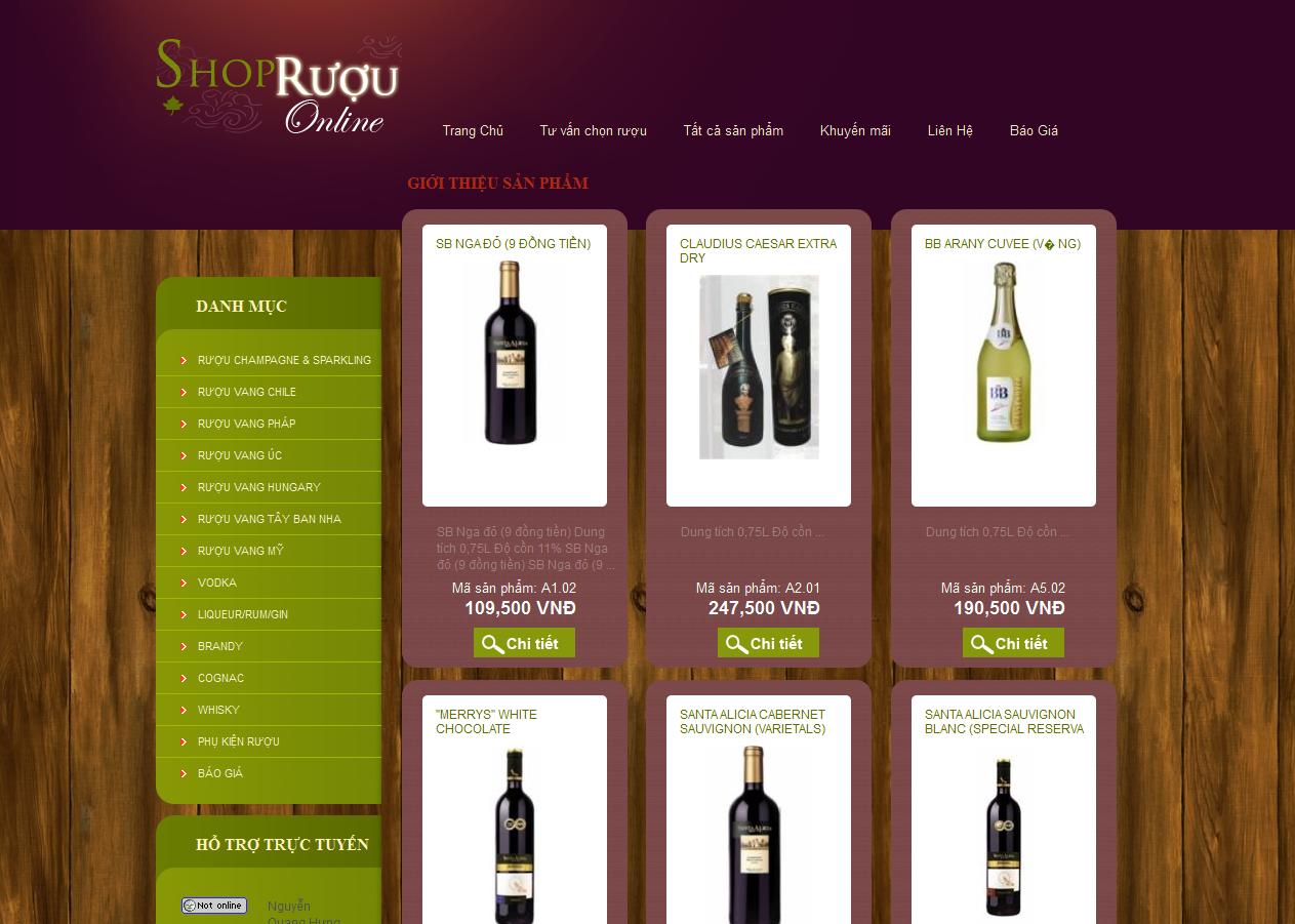 thiết kế web bán hàng rượu đẹp