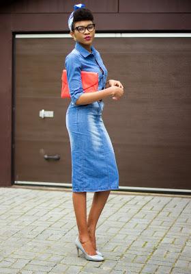 Nigerian style blogger Modavracha in a pencil denim dress from walktrendy.