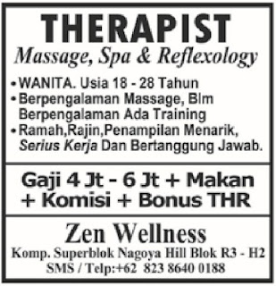 Loker Zen Wellness THERAPIST Batam