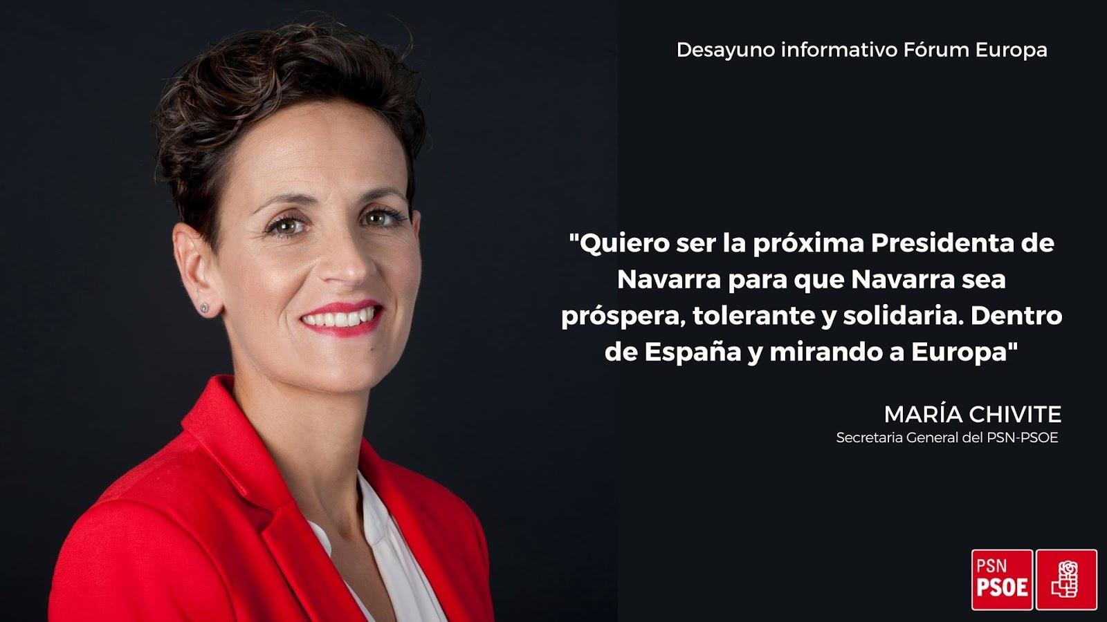 """María Chivite """"La influencia creciente del PSN-PSOE servirá para desbloquear Navarra"""""""