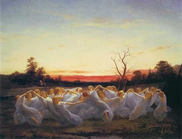 Nils Blommer : Les elfes des prairies (1850)  peintre romantique suédois 1816-1853 a travaillé sur la mythologie nordique