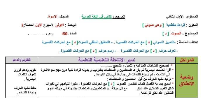 جذاذات القراءة للسنة الأولى ابتدائي الوحدة الاولى الأسبوع 1 حرف الدال مرجع كتابي في اللغة العربية