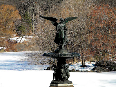 Bethesda Fountain Angel in Winter clip art