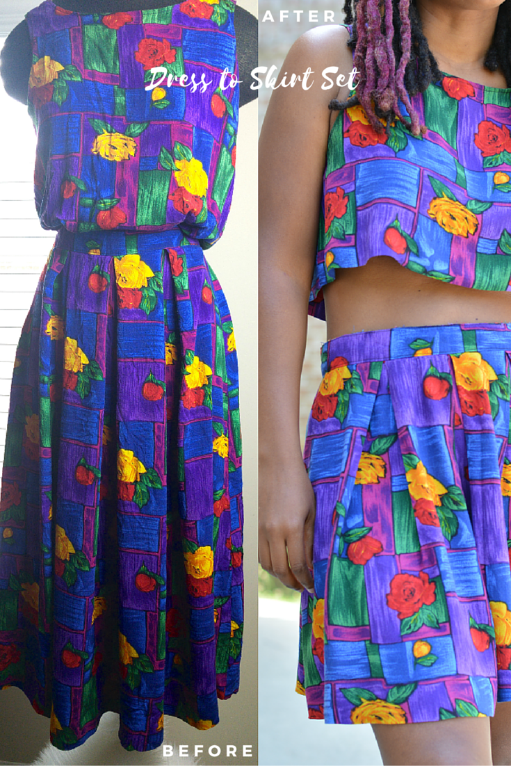 thrift store dress to skirt set diy