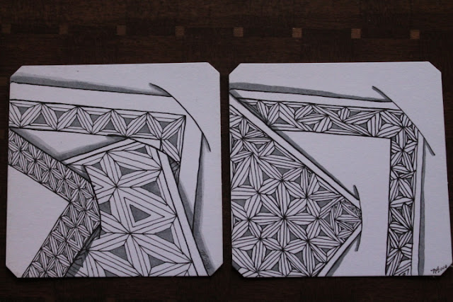 Fasset and slits Zentangle Shaded