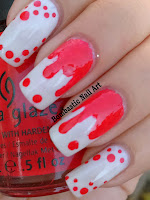Red dripping nail art