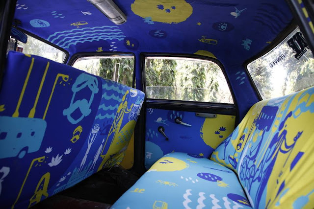 Taxi Fabric Fills Plain Cab Interiors with Vibrant Original Artworks