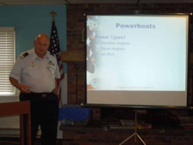 Ed Meyer instructing during a boating safety class.