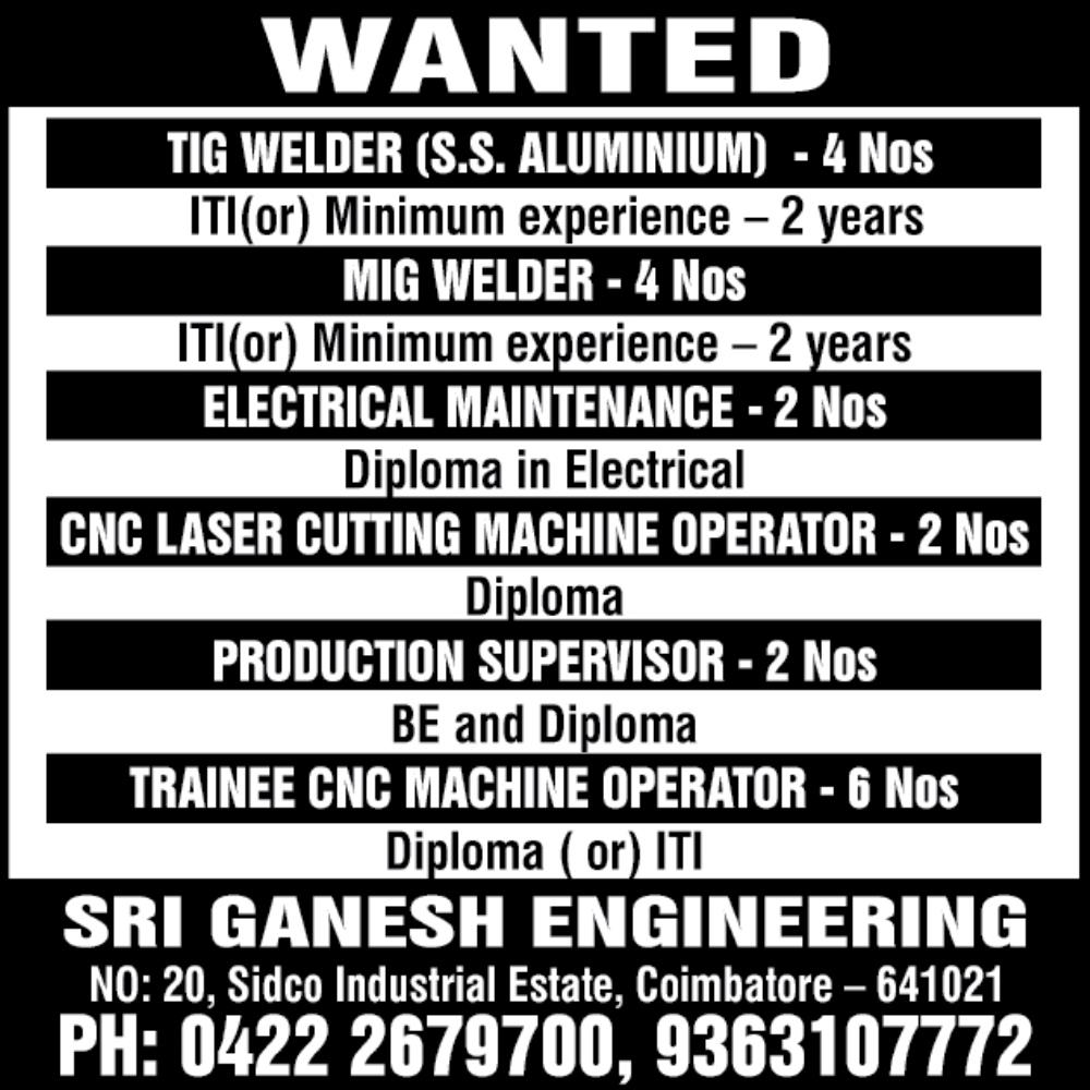 Job Openings in Sri Ganesh Engineering Coimbatore / BE Maintenance ...