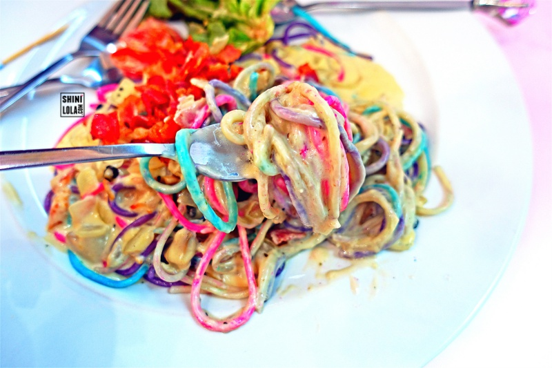 Closed Up of Rainbow Spaghetti Carbonara