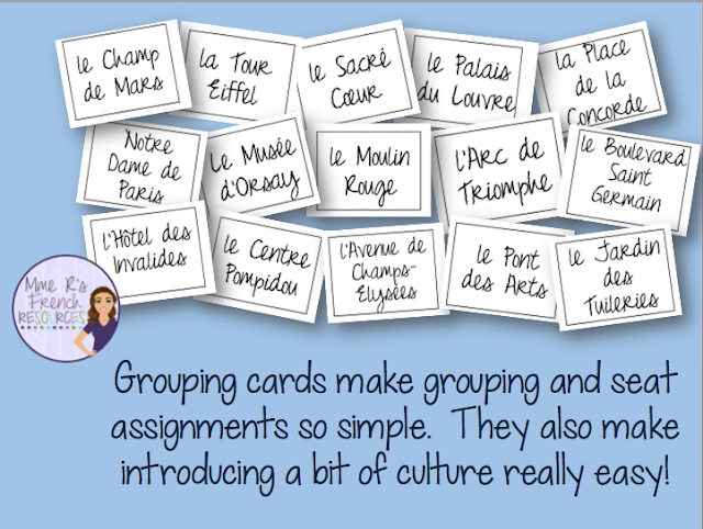 These grouping cards for French class are a quick and easy way to put students in groups.