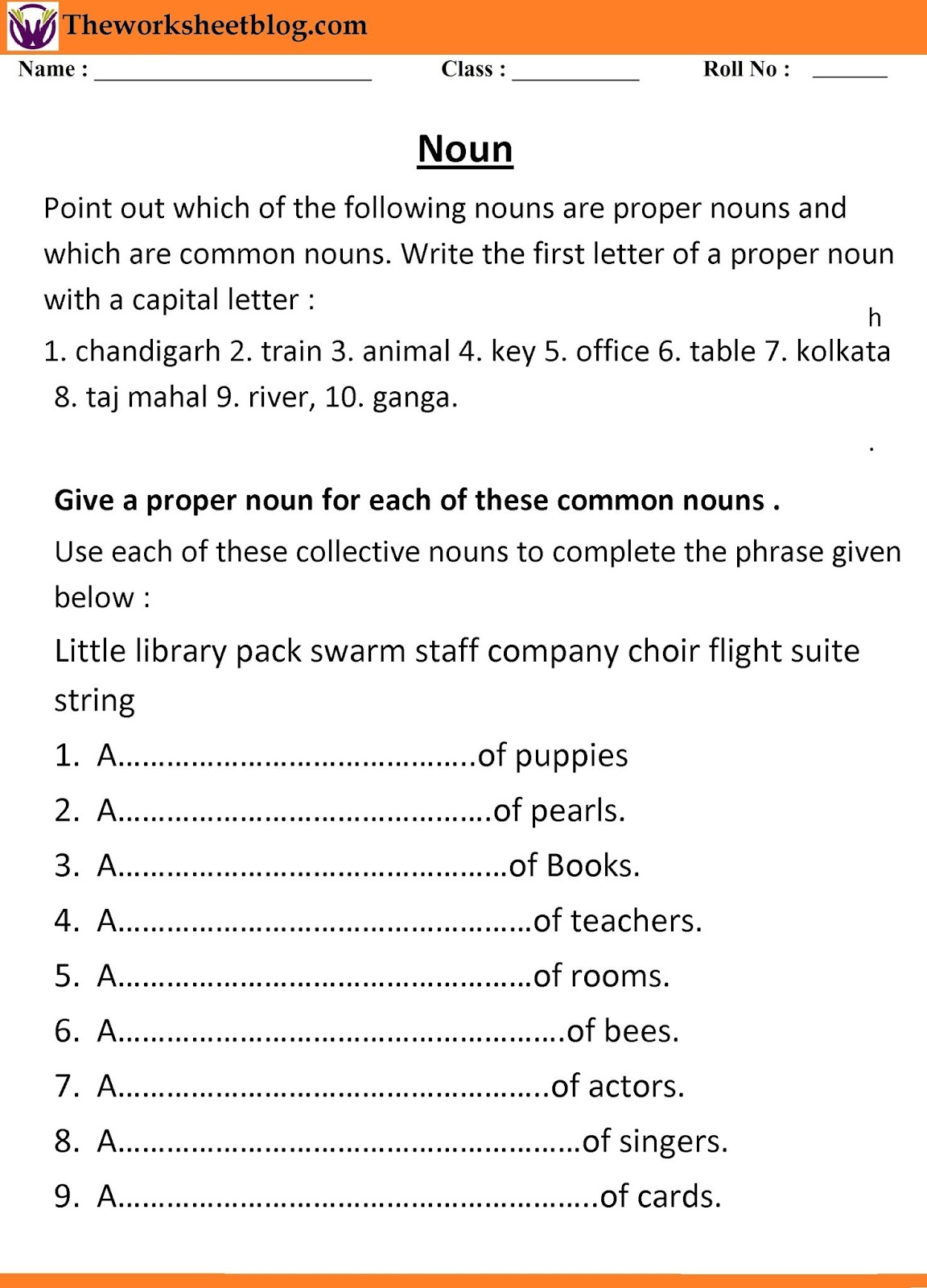 small resolution of Noun worksheets for Grade 1 and 2. - Theworksheetsblog
