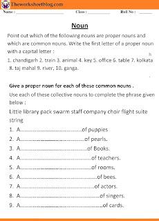 Noun Worksheet for Grade 2
