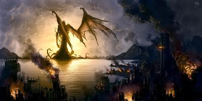 Paysage en feu après le passage d'un Grand Ancien
