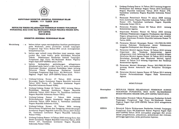 Keputusan Direktur Jenderal Pendidikan Islam Nomor 1026 Tahun 2016