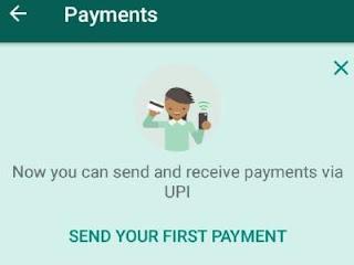 make whatsApp first payment