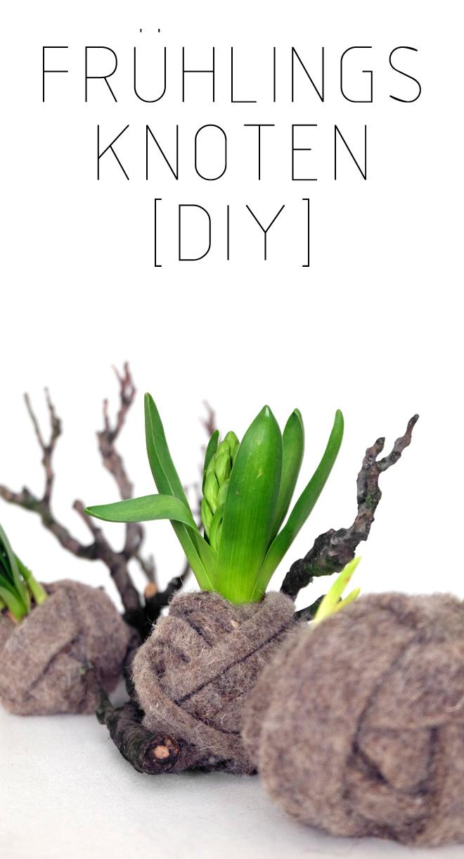 Frühlingsknoten, DIY, Minza will Sommer, Frühling, Tischdeko, Frühlingsdeko, Deko mit Wolle, Hyazinthen, Blumen, Styling, Narzissen, Dekoidee Frühling