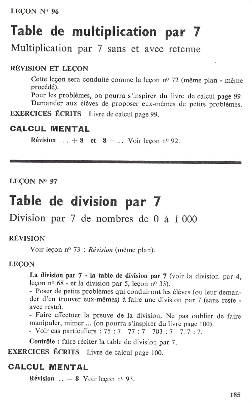 Manuels anciens multiplication et division par 7 for Table de multiplication par 7
