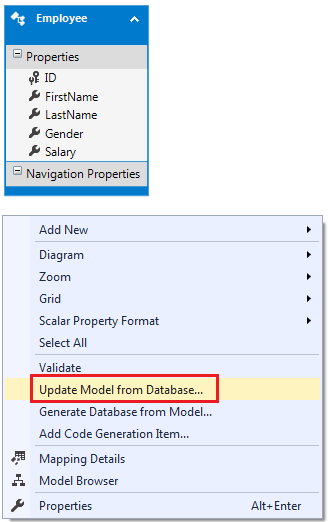 update ado.net entity data model