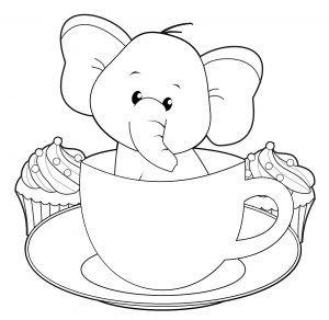 Tranh tô màu chú voi trong chiếu cốc
