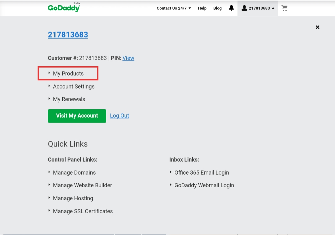 Godaddy my products