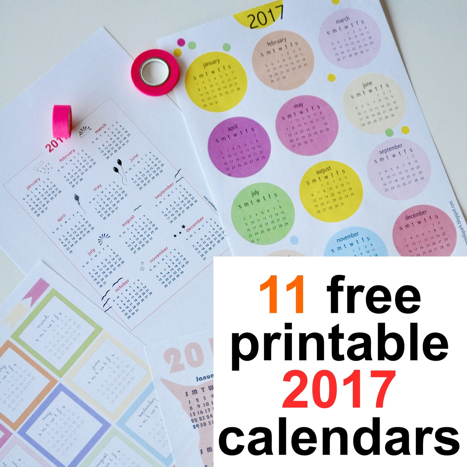 Free printable 2017 calendars - round-up | MeinLilaPark