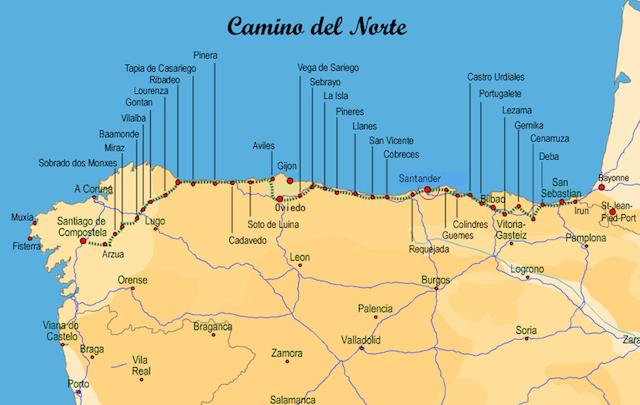 Caminho do Norte até Santiago de Compostela